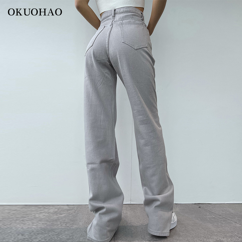2021 Flared Jeans Women High Waist Mom Jeans Denim Trousers Female Streetwear White Vintage Clothes Boot Cut Wide Oversize Pants 4