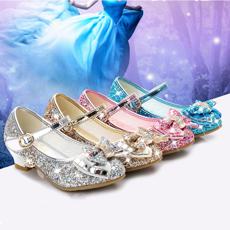 Children Princess Shoes For Girls Sandals High Heel Glitter Shiny Rhinestone Enfants Fille Female Party Dress Shoes