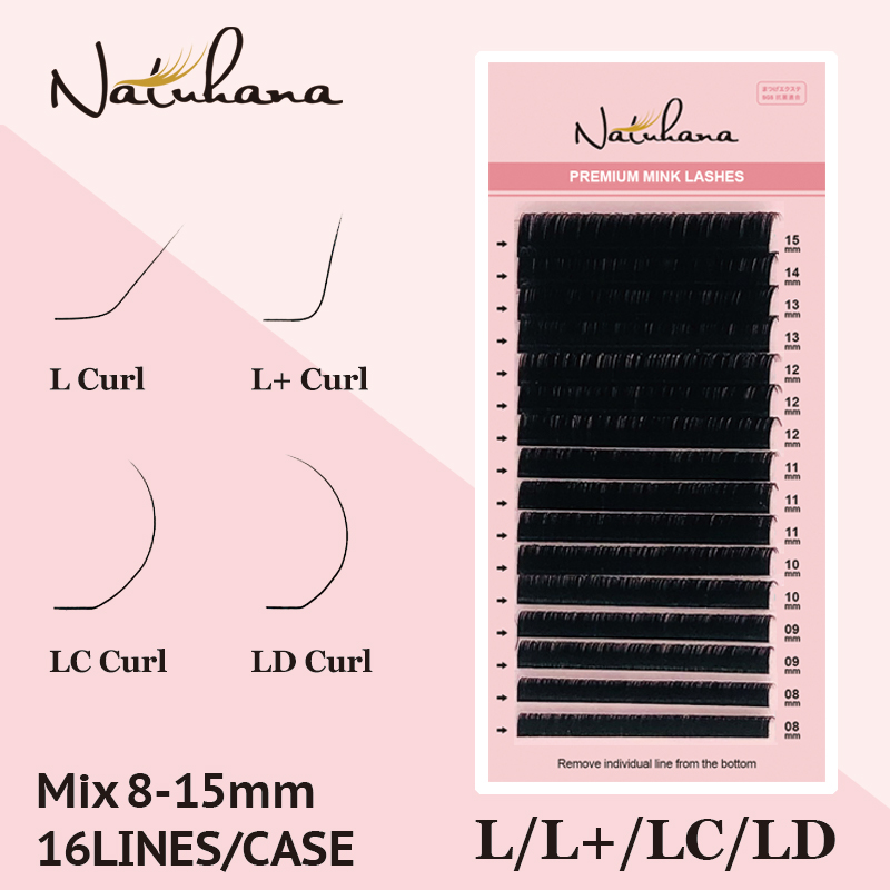NATUHANA L/L+/LC/LD Curl False Eyelash Extensions Matt Black 8-15mm Mixed PBT Mink Eyelashes For Grafting L Shaped Makeup Lashes