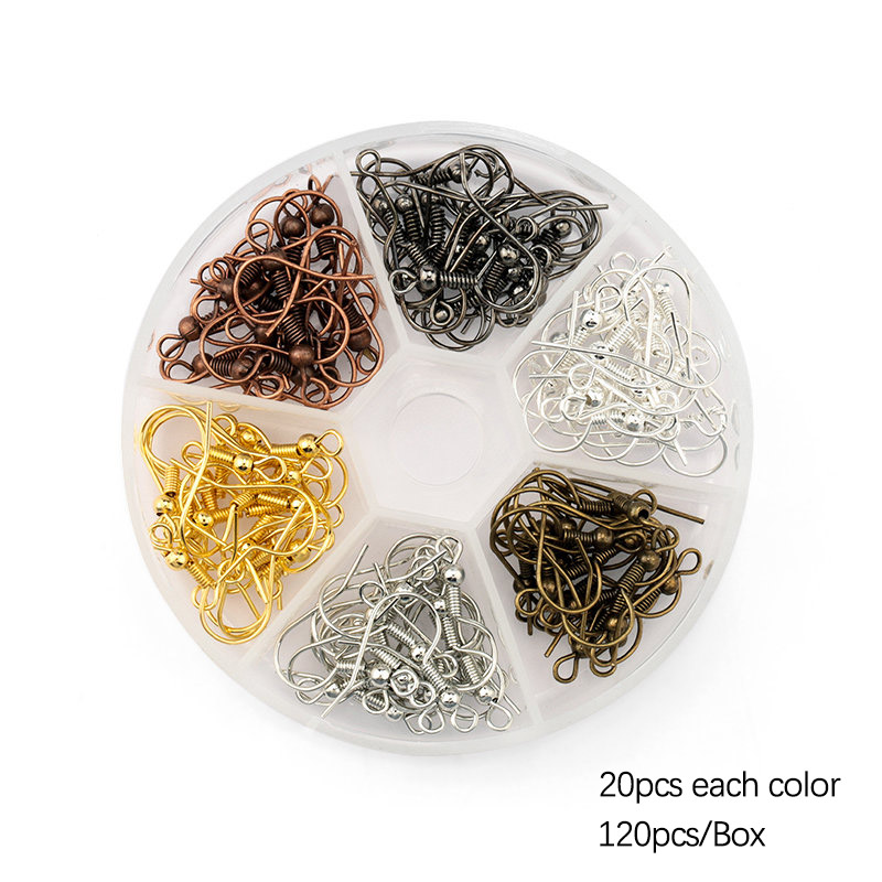 6 colors 19mm copper Ear Wires hooks Earring Findings Earrings Clasps Hooks Fittings for earring making Jewelry DIY 120pcs box in Jewelry Findings Components from Jewelry Accessories