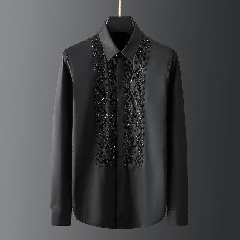 Hand-made black elegant geometric metal stone beaded sewing men's shirt long-sleeved light luxury design Harajuku shirt 2021