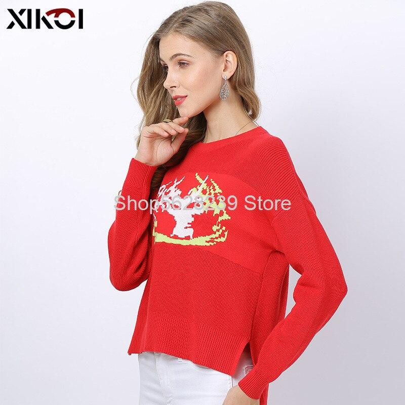2020 vêtements pour femmes deux couleurs col rond à manches longues en vrac grand Code tricot chemise chandail