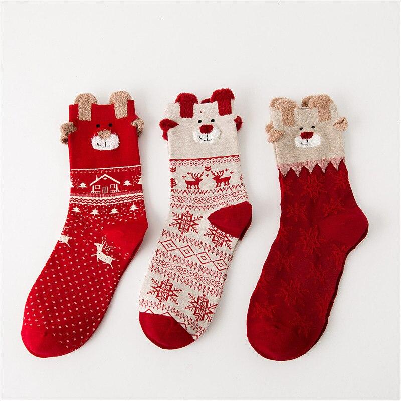 New Hot Christmas Socks Women Men Stereo Socks Soft Cotton Cute Santa Claus Deer Socks Xmas Christmas Socks Family Gift