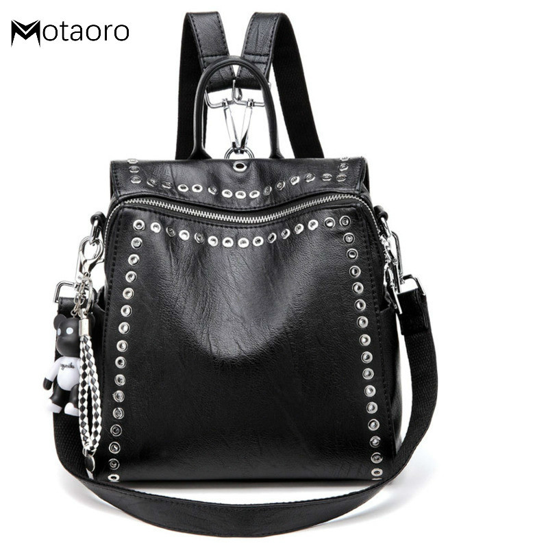 New Women Leather Backpack Rivet School Bags For Teenage Girls Fashion Female Bagpack Schoolbag Sac Feminina Mochila  Backpacks