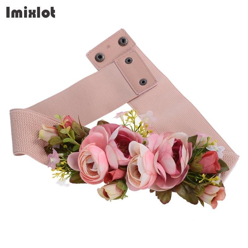 Korean Style Buckle Elastic Wide Belt For Women Stretch Handmade Flower Cummerbunds Waistband Waist Belt Women's Dress Belt