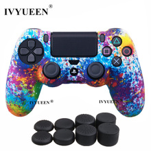 IVYUEEN For Sony PlayStation 4 PS4 Pro Slim Controller Protective Skin Silicone Case for Dualshock 4 Gamepad Cover Thumb Grips