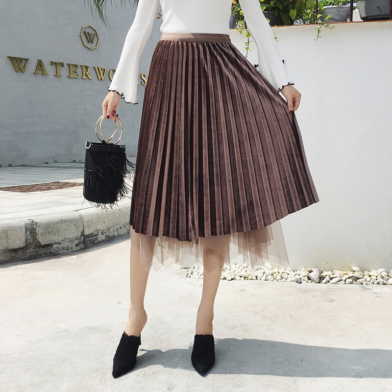 high waist velvet mesh saia skirt women 39 s Autumn Winter Plus Size vintage faldas long skirt Streetwear Harajuku pleated skirts in Skirts from Women 39 s Clothing