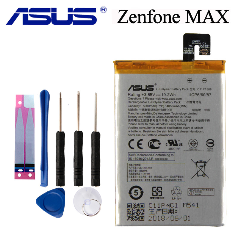 Original ASUS High Capacity C11P1508 Phone Battery For ASUS Zenfone max 5000Z C550KL ZC550KL Z010AD Z010DD Z010D Z010DA 5000mAh image