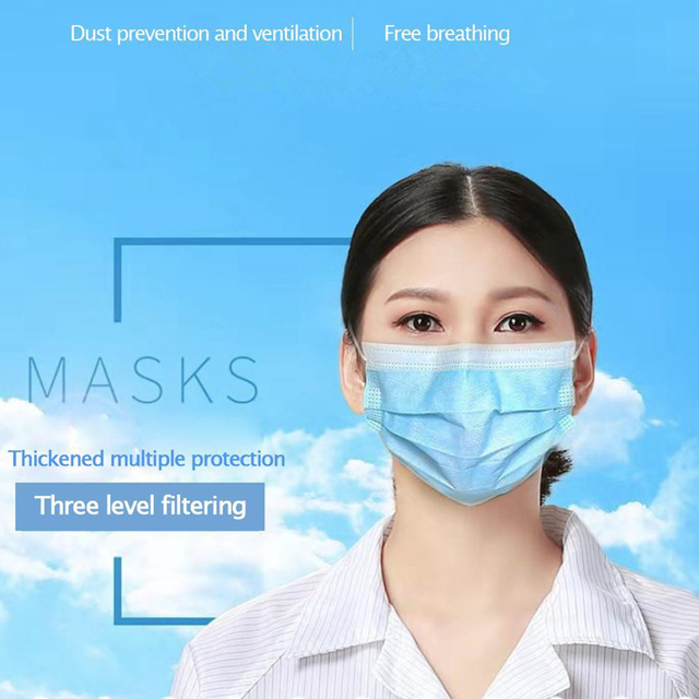 50pcs/set, 3-Ply Disposable Face Mouth Mask Anti Flu Dust Proof Earloop Mask Anti-fog Masks 1