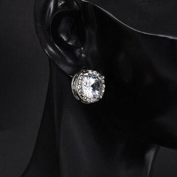 Fashion Women Girl White Rhinestone Crystal Round Metal Zircon Ear Stud Earrings Patry Earring Jewelry 2