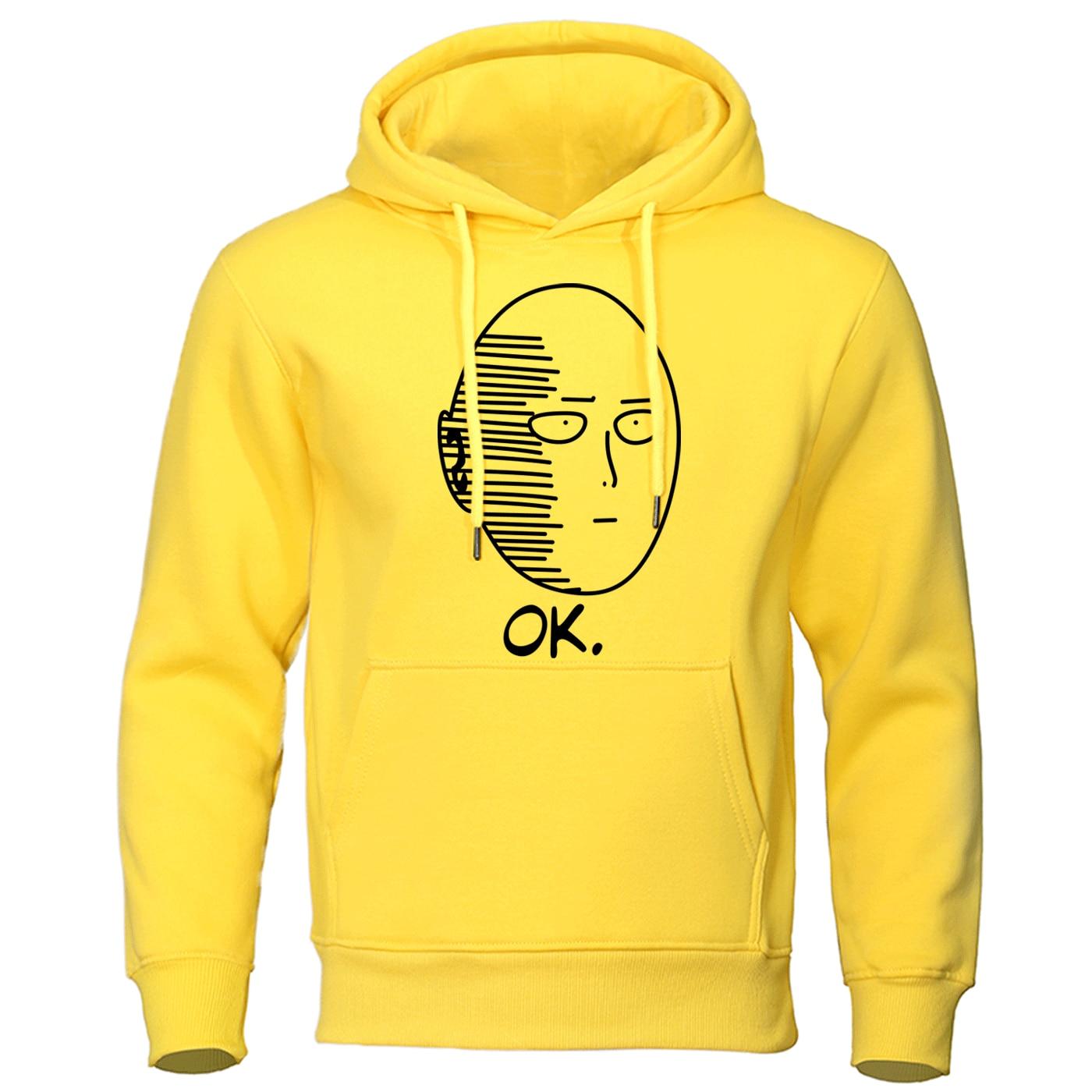 Autumn Casual Hooded Sweatshirt One Punch Man Hoodie Japanese Anime Men Pullover Harajuku Saitama Sensei Mens Fashion Streetwear