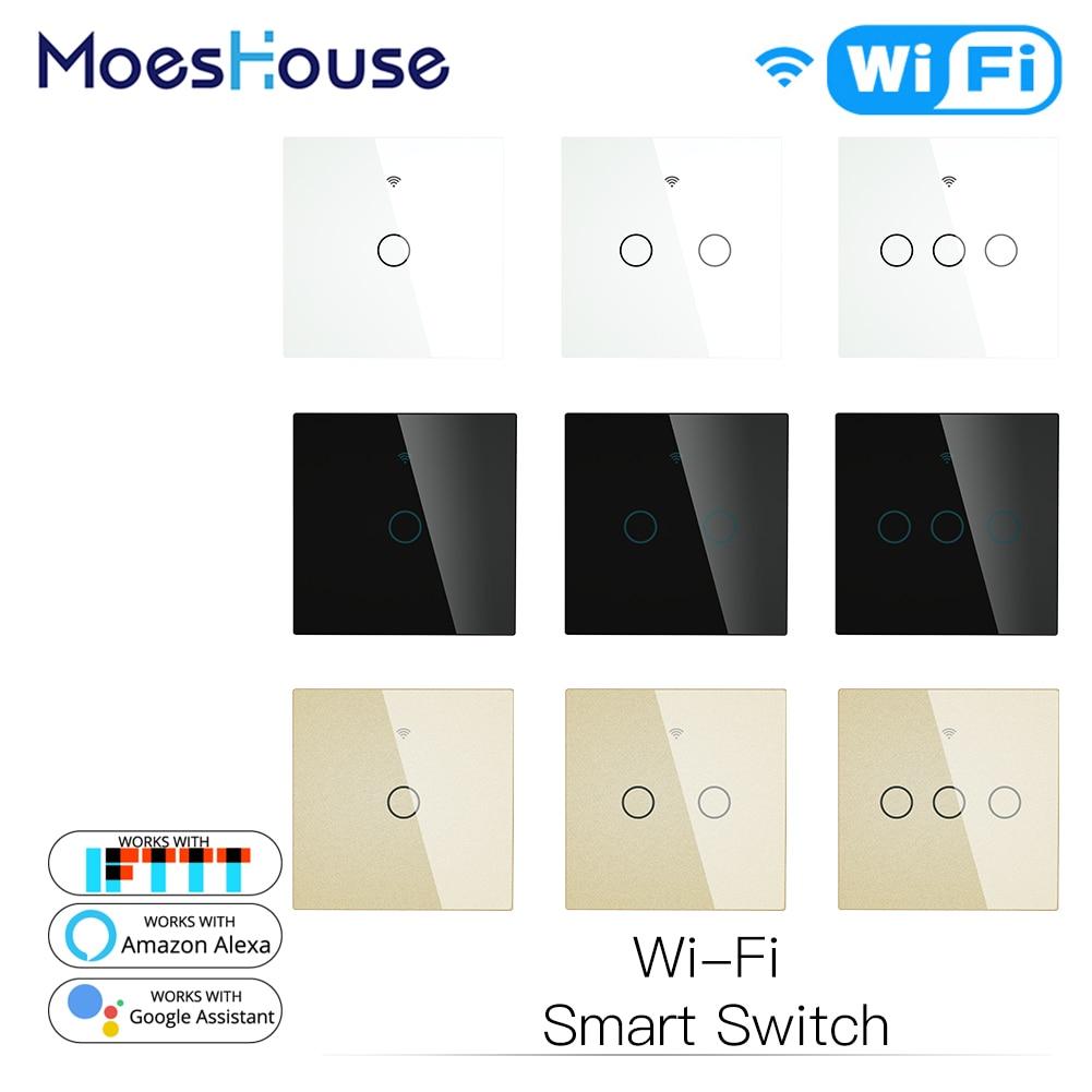 Стандарта ЕС, США, Великобритании, Wi Fi, Smart Touch настенный выключатель света Стекло Панель сенсорный приложение Smart Life Tuya Беспроводной дистанционного Управление работать с Alexa Google Home|Выключатели|   | АлиЭкспресс