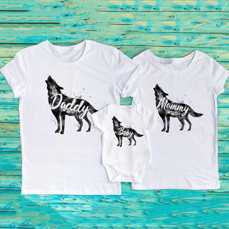 Watercolor Wolf Daddy Mommy Baby Family Matching Outfits Funny Bodysuit T-shirt Family Love Wolf Clothes