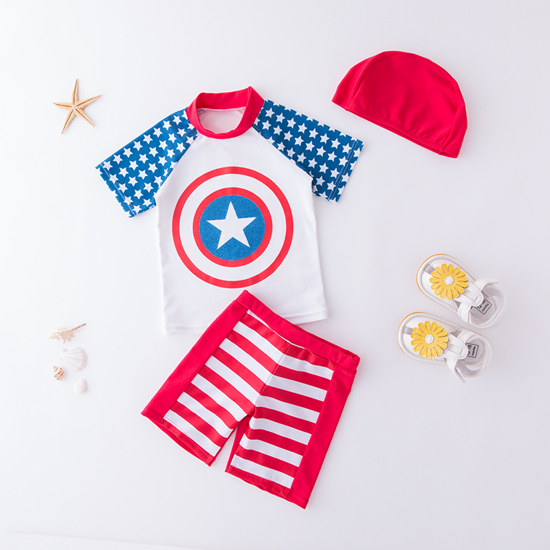 KID'S Swimwear Boy Split Swimsuit Star Hooded Swimwear Short Sleeve Cartoon Animation Beachwear Hot Springs Swimming
