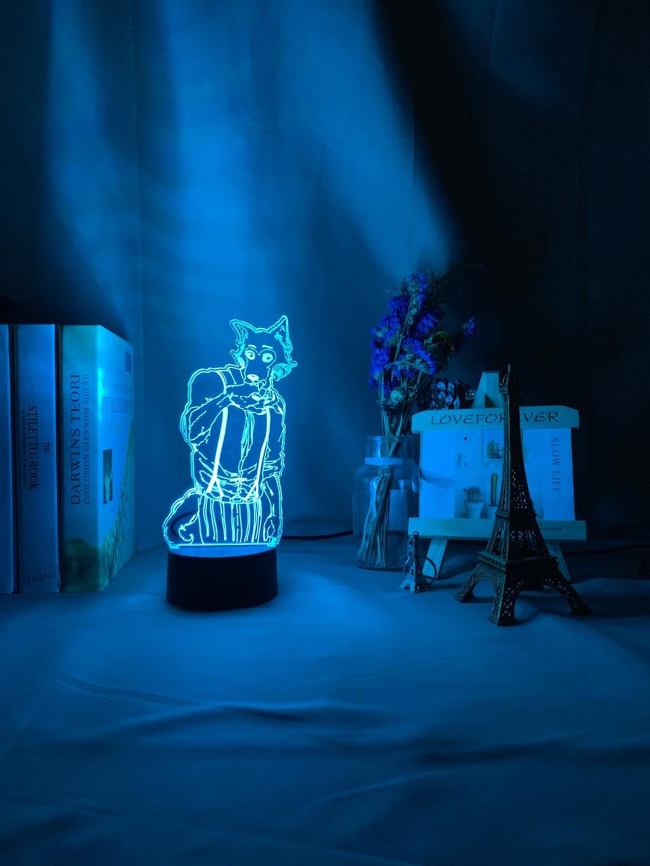 H4ae093d3e30f4ba7b1991e5bdda85532Z Luminária Beastars de mesa legosi acrílica 3d, luz noturna para decoração de quarto infantil, luz noturna para presente usb