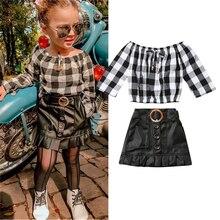2 piezas niños bebé niña ropa de verano Set 2019 nueva moda camisa a cuadros Tops + Mini falda de PU conjunto de ropa de Braga