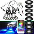 8Pcs LED RGB Unterboden Licht Bluetooth Drahtlose Rock Lampe Off-Road Truck Boot APP Steuer Dekorative Umgebungs Licht
