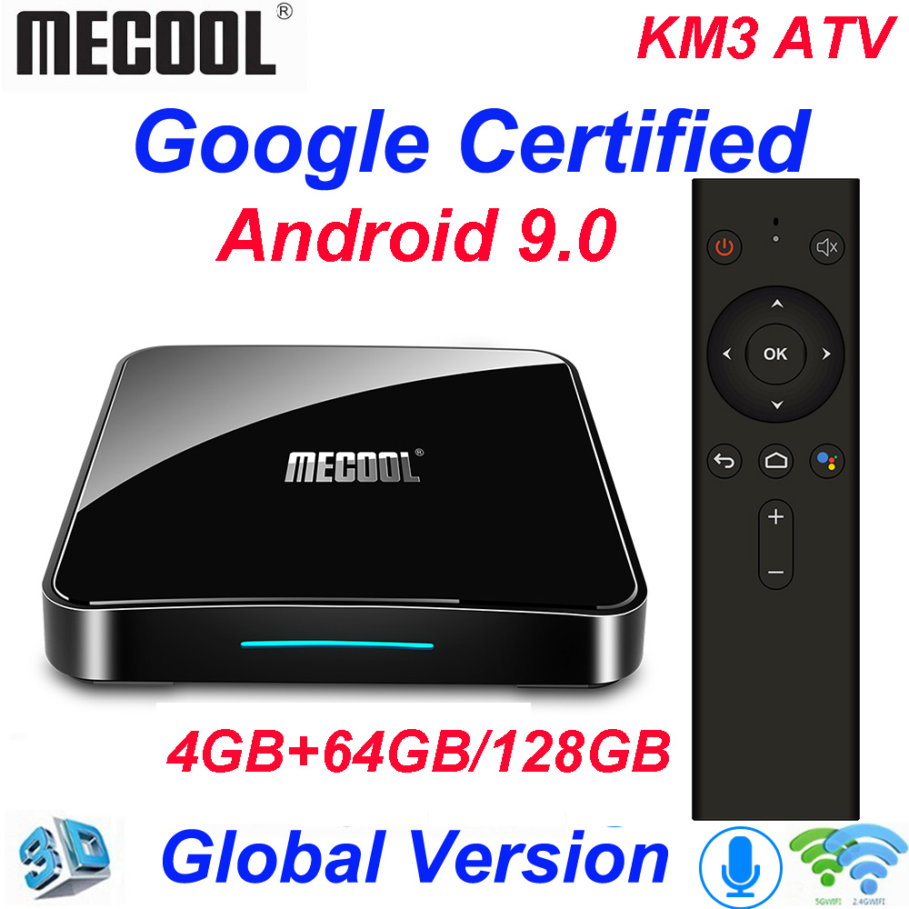 Mecool KM3 ATV 4G 64G 128G Android 9.0 Google certifié Androidtv Amlogic S905X2 4K Double Wifi Smart TV Box KM9 Pro 2/16G 4/32G