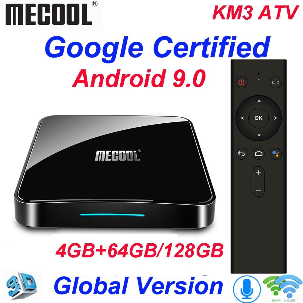 Mecool KM3 ATV 4G 64G 128G Android 9.0 Amlogic Google Certified Androidtv S905X2 4K Dupla Wi-fi caixa de TV inteligente KM9 Pro 2/16G 4/32G