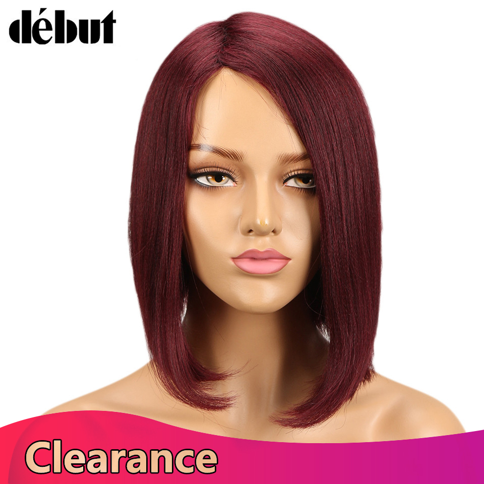 Debut Fashion Ombre Red Color Bob Human Hair Wigs For Women Brown Mix Remy Hair Wigs Gifts Brazilian Hair Short Hair Wigs Sales