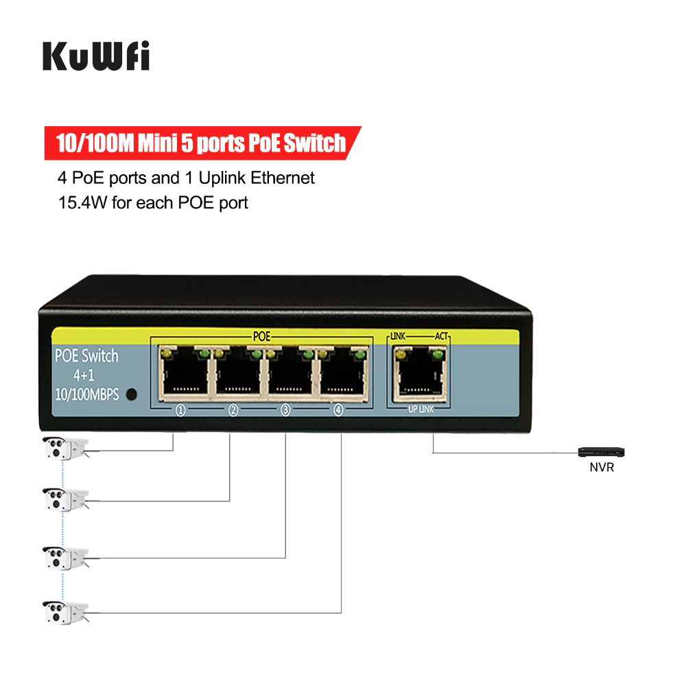 Image 3 - 5 Port 10/100Mbps Network Switch 802.3af 52V Switch For Lift IP Camera 4POE Ports and 1 Uplink Ethernet Support Extend 250m-in Network Switches from Computer & Office