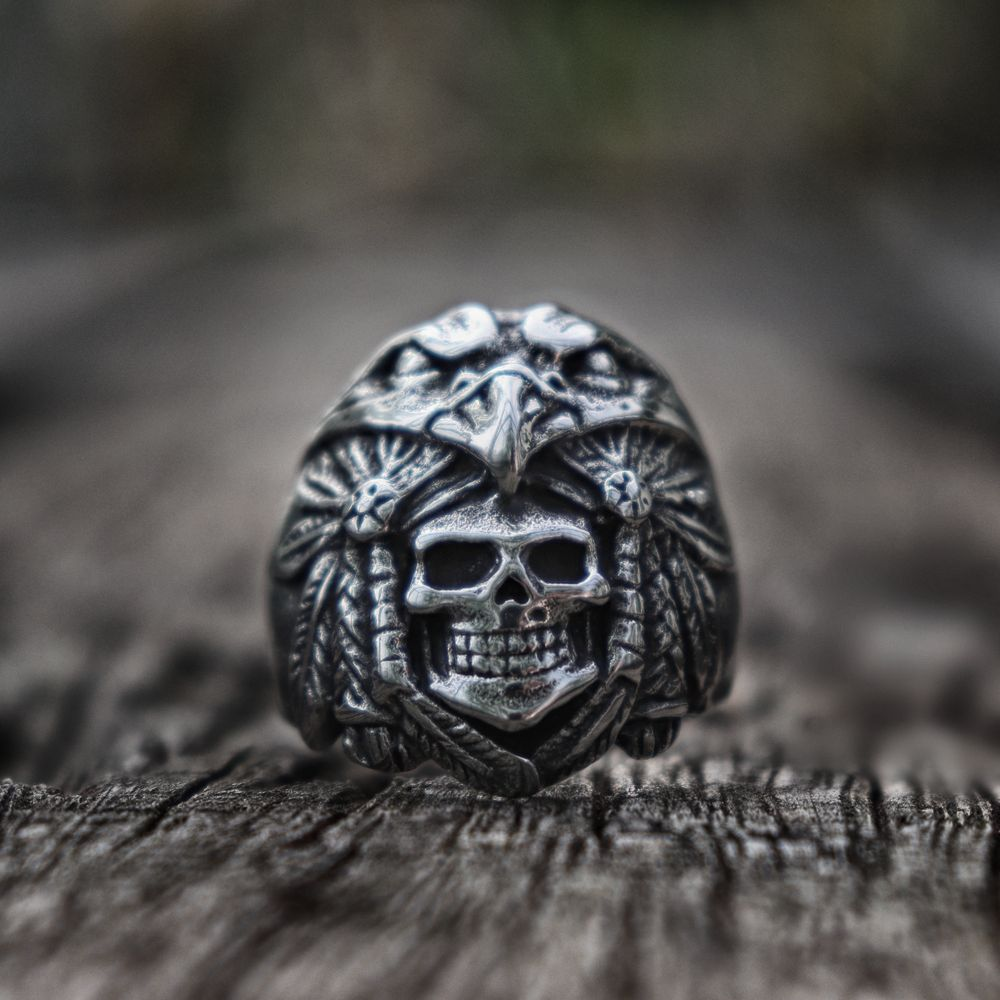 Mens Indian Eagle Warrior Skull Rings Vintage 316L Stainless Steel Ring Rock Biker Jewelry