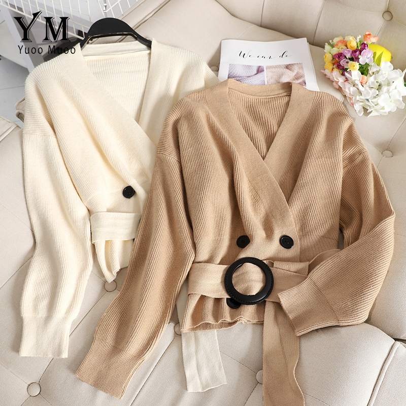 YuooMuoo Elegant Bandage Autumn Cardigan Sweater 2019 V Neck Korean Style Women Cardigans Casual Long Sleeve Black Cardigan Coat