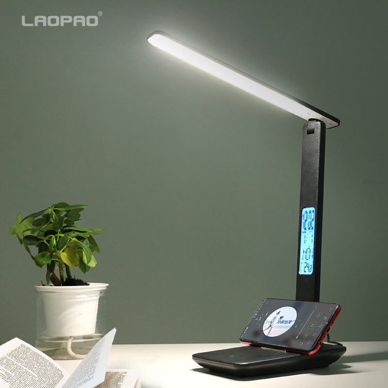 Modern Business Led Office Desk Lamp Touch Dimmable Foldable With Calendar Temperature Alarm Clock table Reading Light LAOPAO 1