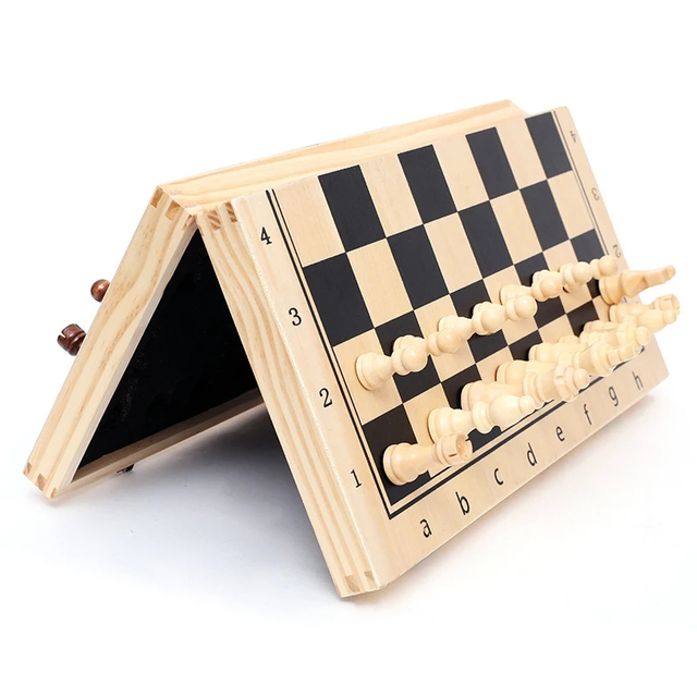 Buy Best Chess Wooden Checker Board Solid Wood Pieces Folding Chess Board High-end Puzzle Chess Game-