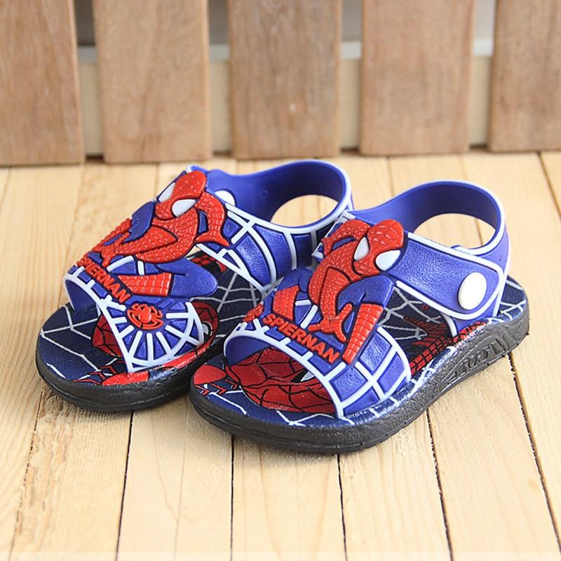 Boys Sandals Kids Shoes Summer PVC Cartoon Spiderman Outdoor Non-slip Rubber Children Sandals Baby Boy Beach Shoes Infantil 1-3Y
