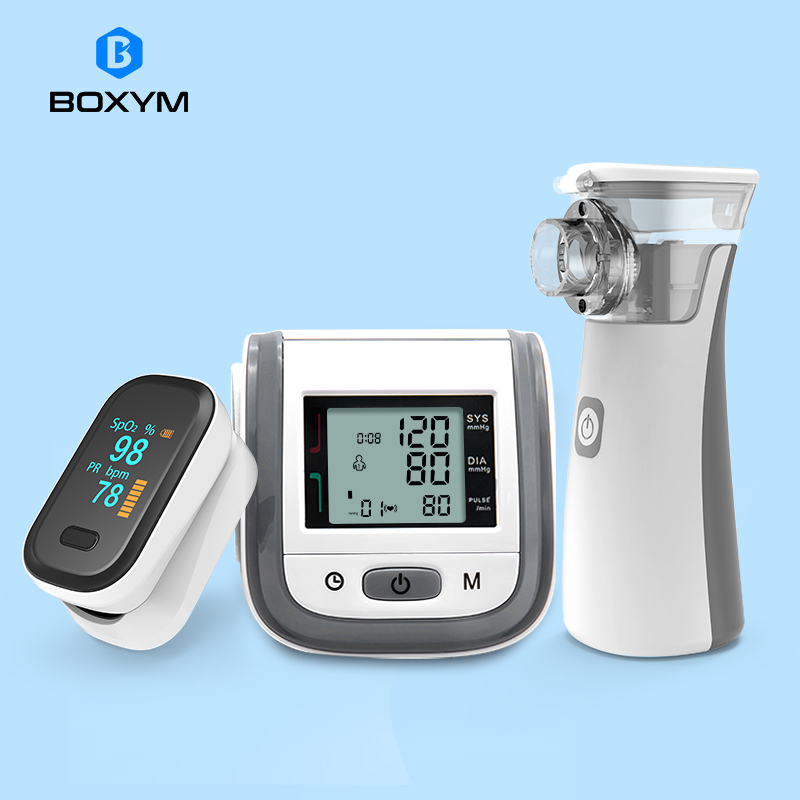 BOXYM Fingertip Pulse Oximeter & Handheld Asthma Inhaler Nebulizer & LCD Wrist Blood Pressure Family Health Care Travel Packages