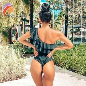 Image 4 - Andzhelika Women One Piece Swimsuit Ruffle Sexy 2020 Summer One Shoulder Swimwear Bodysuit Solid Black Beach Monokini Swimwear