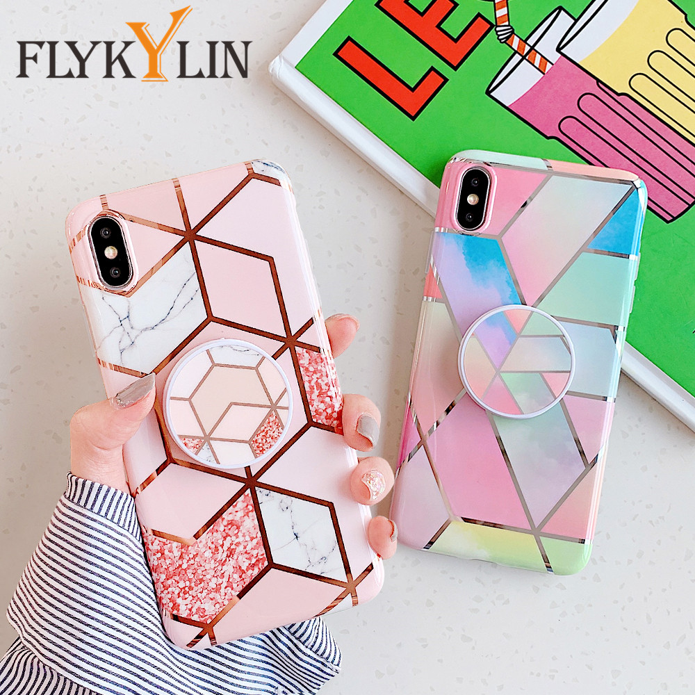 FLYKYLIN Holder Stand Case For Huawei P20 Lite P30 Pro Back Cover For iphone 11 Pro Max SE 2 Marble Art IMD Silicone Phone Coque