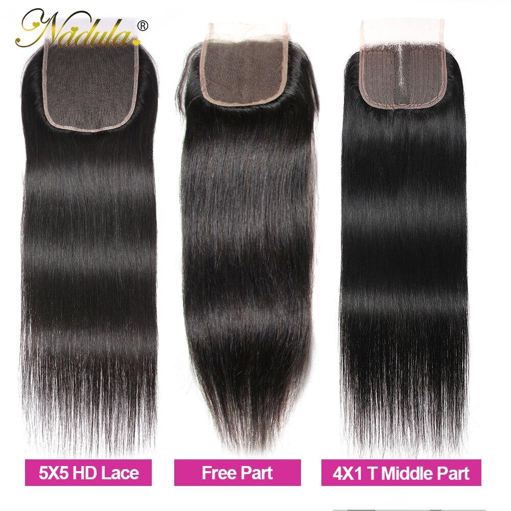 Nadula Hair 5x5 HD lace Closure 10-20inch  Hair Natural Straight Hair Closure  Hair 4*4 Swiss Lace Closure 2