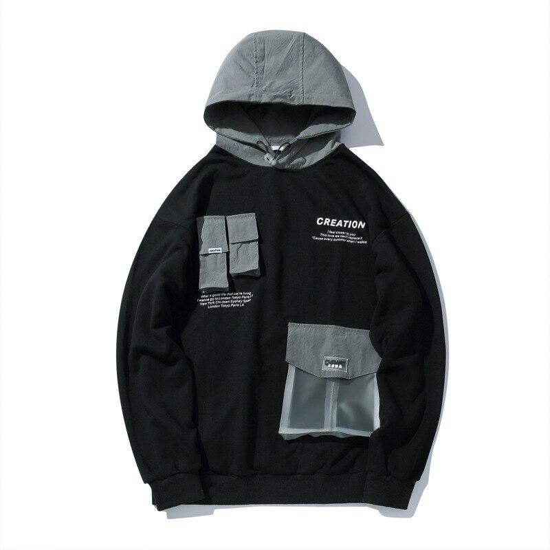 Men Hip Hop Hoodies Thin Sweatshirt Printing  Hoodie Casual Black Hoody Pullover Cotton Streetwear Autumn 2019 Hot