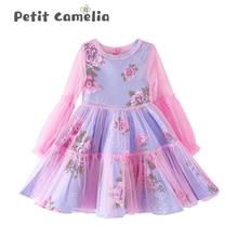 Kids Girls Dresses Long Sleeved Mesh Gown Dress Casual Print Princess Skirt Floral Skirt Thin Section Dress Summer Autumn girls floral print bow back mesh overlay dress