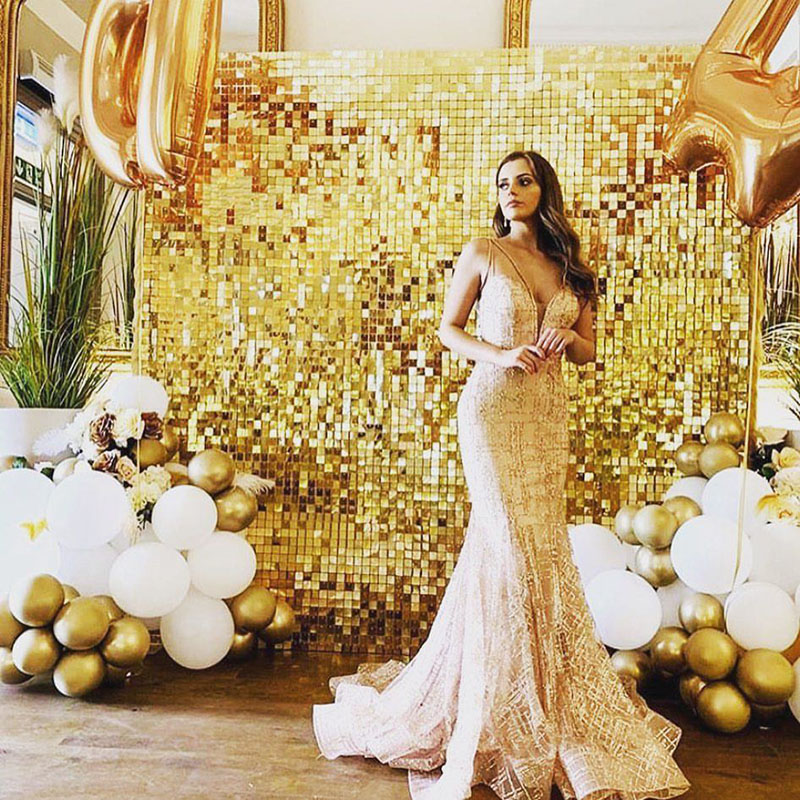 Shimmer Wall Backdrop 2m Length Glitter Curtain Metallic Curtain Party Decoration Birthday Party Decorations Sequin Wall