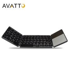 AVATTO yeni B033 taşınabilir Bluetooth katlanır Mini klavye, katlanabilir BT kablosuz Touchpad tuş takımı için IOS/Android/pencere ipad Tablet