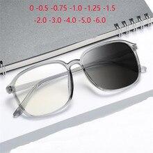 Fotocromáticas gafas de sol para hombre y mujer, anteojos cuadrados con prescripción, ultralivianos, de gran tamaño, para miopía, 0-0,5-0,75-1,0 a-6,0