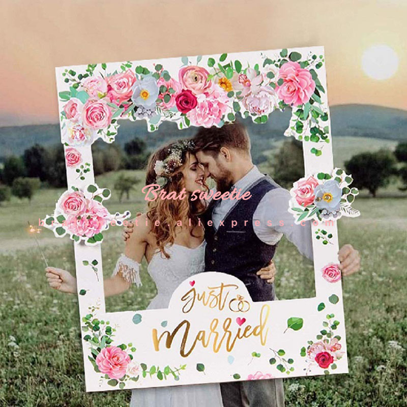 Just Married Photo Booth Frame Props Wedding Decoration Bridal Shower Mr Mrs Photobooth Props Hen Party Bride Groom Favors