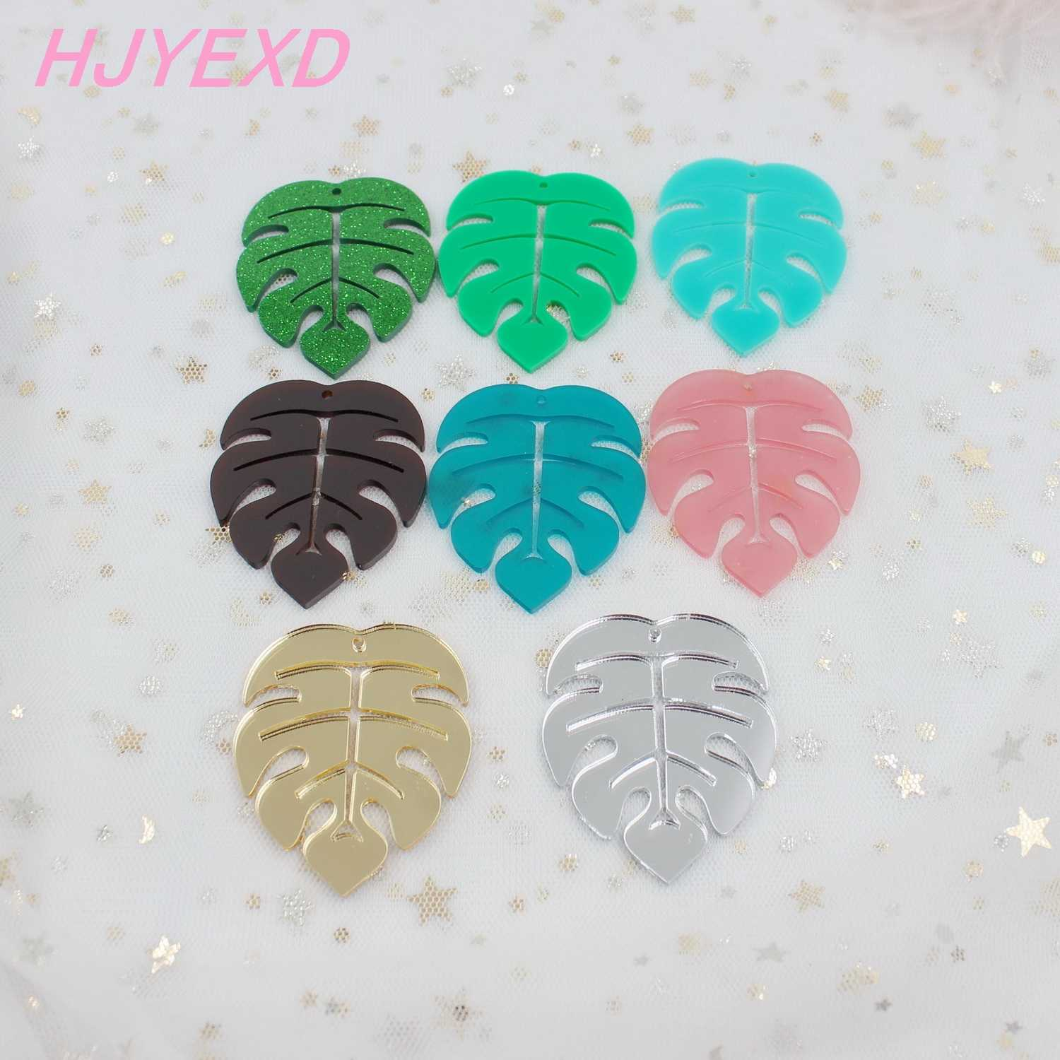 "55mm Acrylic Monstera Earrings Charms Matt Pink Fog Green Fog Brown Green Glitter Monstera Laser Cut 2.2"" -AC1464"