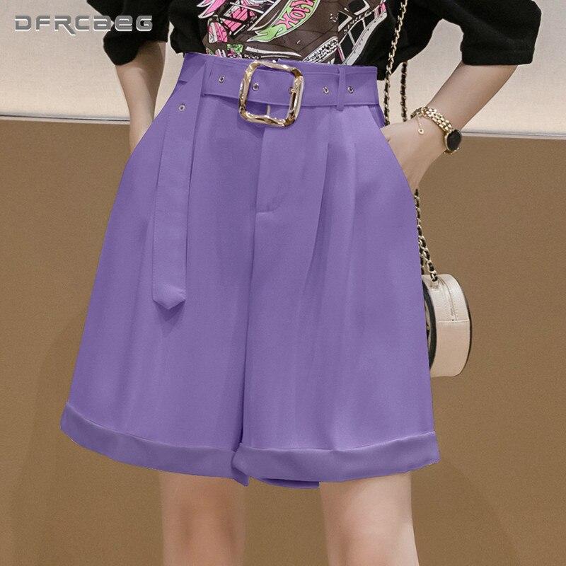 Purple White Loose Women Summer Wide Leg Capris Shorts 2020 Casual Knee Length OL Office Bermuda Suit Short Trousers Femme