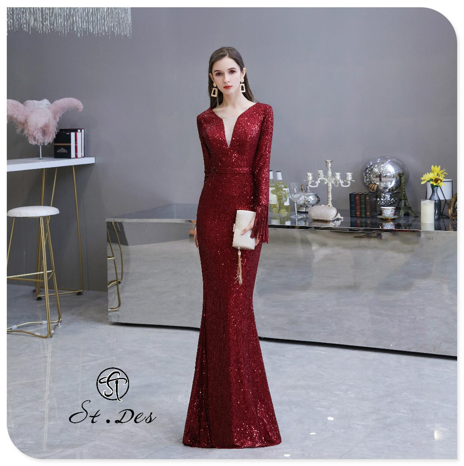 S.T.DES Evening Dress 2020 New Arrival Burgundy Beading Mermaid V-Neck Wine Long Sleeve Floor Length Party Dress Dinner Gowns