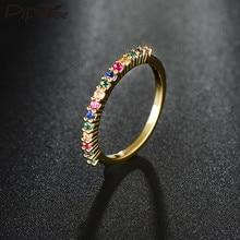 Pipipitree anel de zircônio cúbico, delicado, multicolor, dourado, simples, clássico, anéis de tira de casamento para mulheres, moda, joias