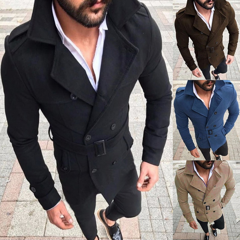 Coat Jacket Trench Streetwear Long-Sleeve Male Men's Fashion Winter Button Casual Warm title=