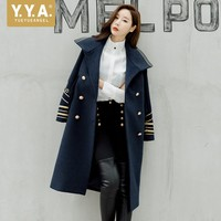 BF Style Women Long Military Wooeln Coat Double Breasted Blends Dust Coat Navy Embroidery Mid Long Winter Slim Outerwear Jacket