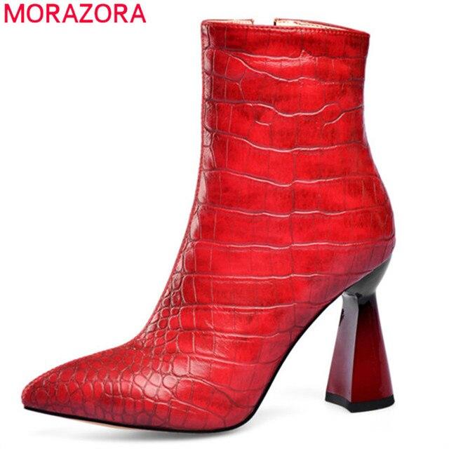 MORAZORA 2020 למעלה איכות נשים מגפי קרסול הבוהן מחודדת סתיו חורף צ לסי קצר מגפי עקבים גבוהים מסיבת חתונה נעלי אישה
