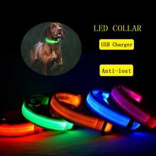 Ошейник для собак Светящийся зарядка через usb, светодиодный светильник, мигающий нейлоновый поводок для собак, для щенков, маленьких, средних и больших собак, для прогулок, безопасные товары для домашних животных
