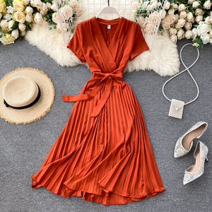 SINGRAIN High Quality Solid Pleated Dress Women V neck Short Sleeves Sashes Long Dresses Summer Streetwear Vintage Vestidos