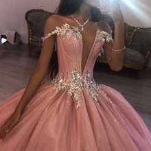 Skirt Quinceanera-Dresses Birthday-Party Deep-V-Neck Sweet 15 Puffy Pink Train XV Backless